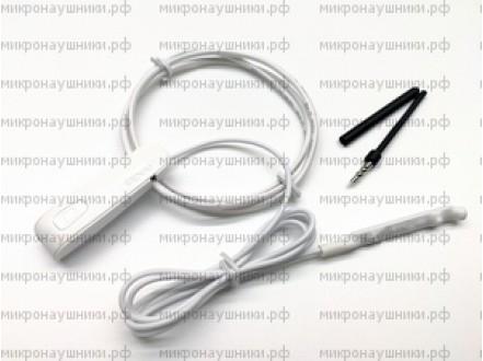 Bluetooth микронаушник, магнитный динамик,  микрофон выносной с кнопкой пищалкой