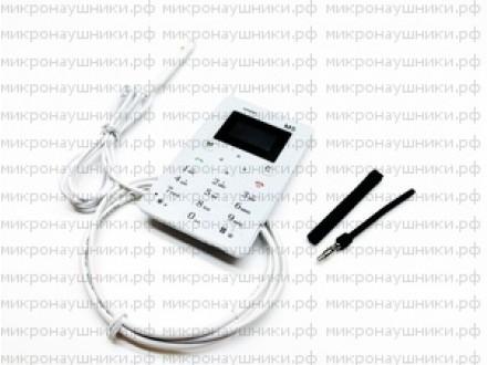 Телефон микронаушник, магнитный динамик, микрофон-выносной с кнопкой пищалкой